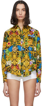 Versace Multicolor Tropical Print Shirt