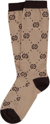 Gucci Beige Socks For Kid With Black Doube Gg
