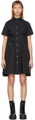 Sacai Black Poplin Belted Zip Dress