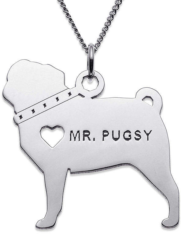 JCPenney FINE JEWELRY Personalized Pug Sterling Silver Pendant Necklace