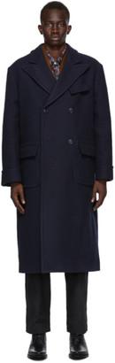 4SDESIGNS Navy Melton Wool Morning Frock Coat