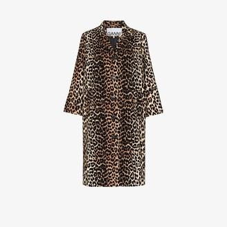 Ganni Leopard Print Linen Canvas Coat