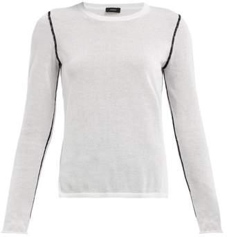 Joseph Contrast Seam Round Neck Sweater - Womens - White