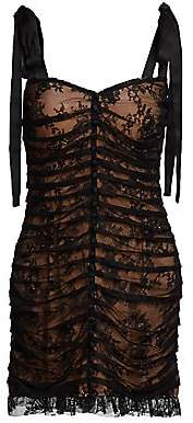 For Love & Lemons Women's Dolly Floral Lace Stripe Mini Bodycon Dress
