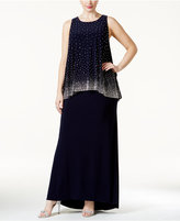 Betsy & Adam Plus Embellished Popover Evening Dress