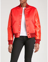 Givenchy Leather and satin bomber jacket