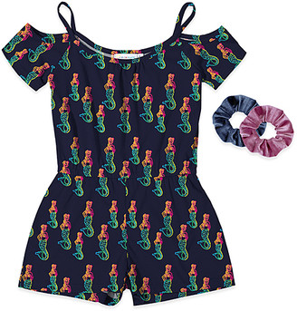 Neatie Kiddie Girls' Rompers - Navy Mermaid Romper & Scrunchie Set - Girls