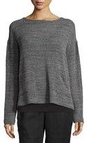 Eileen Fisher Melange Mesh Boxy Sweater, Ash, Petite