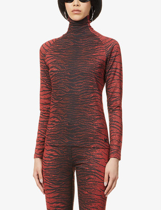 Kenzo Tiger-print high-neck stretch-jersey top