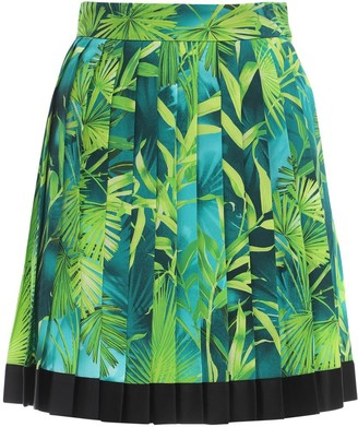 Versace Pleated Jungle Print Twill Mini Skirt