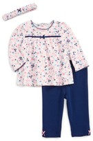 Little Me Infant Girl's Petit Floral Tunic, Pants & Headband Set