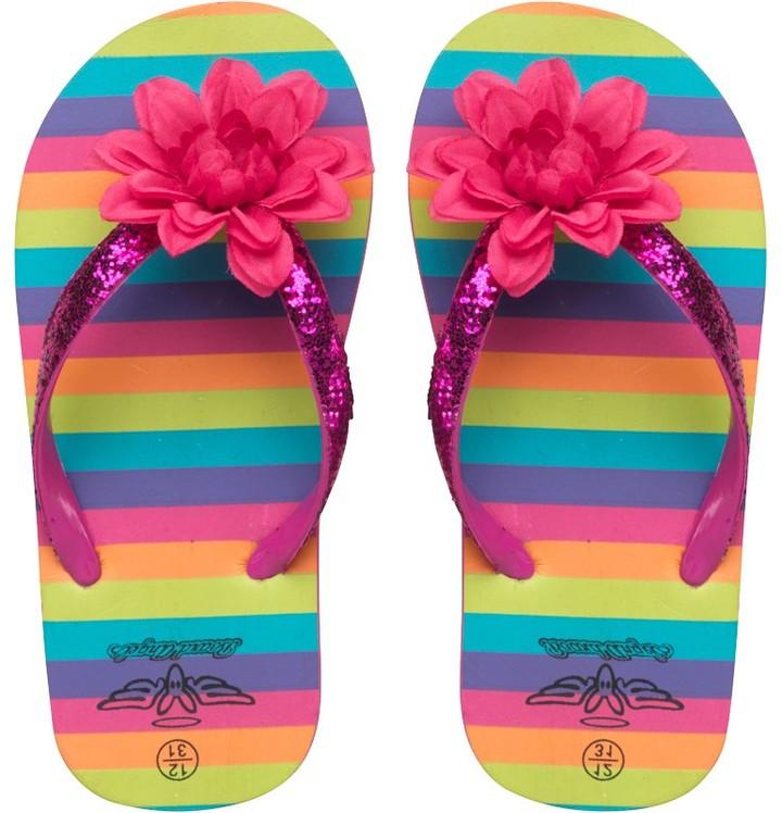 Board Angels Girls Striped Flip Flops Pink Multi
