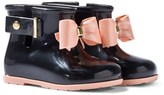 Mini Melissa Black and Pink Bow Welly Boots