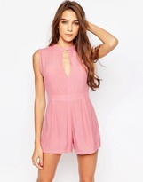 Motel Sami Romper With Keyhole Detail