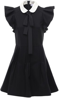 RED Valentino Crepe Mini Dress W/ Ruffles