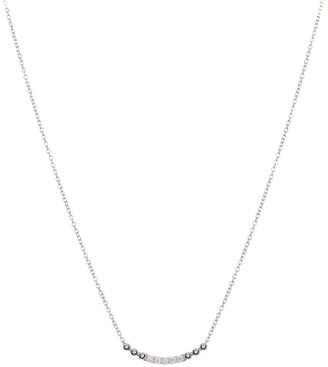 Bony Levy Mykonos 18K White Gold Diamond Curved Bar Pendant Necklace