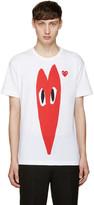 Comme des Garcons White Stretch Heart T-Shirt