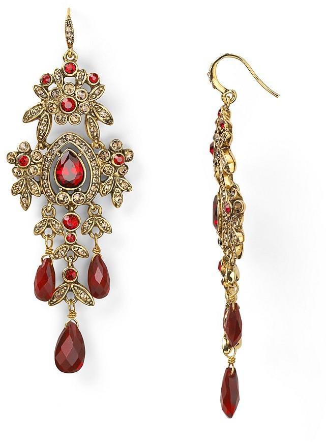 Carolee 14K Gold-Plated Vintage Bordeaux Large Chandelier Earrings