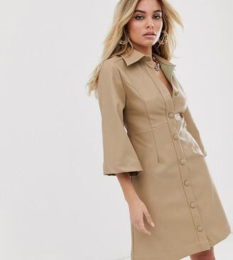 UNIQUE21 button front dress in faux leather-Brown