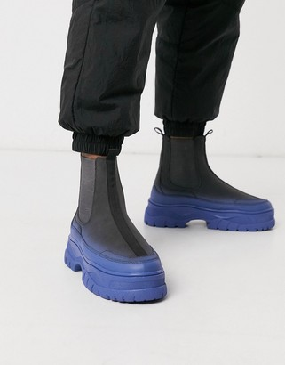 Asos DESIGN co-ord chelsea trainer boots in grey faux suede with spray effect and chunky sole