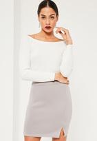 Missguided Scuba Split High Waist Mini Skirt Grey
