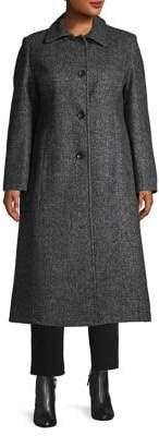 Jones New York Plus Tweed Button-Front Coat
