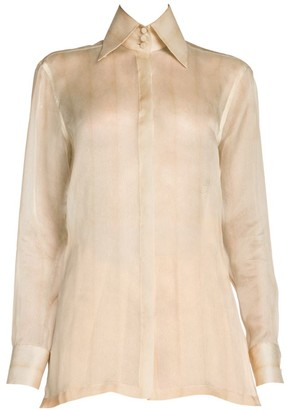 Fendi Embroidered Monogram Feathered Silk Organza Shirt