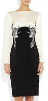 Marchesa Embellished two-tone silk-crepe dress