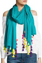 Neiman Marcus Multicolor-Tassel Scarf, Teal