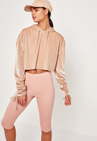 Missguided Nude Velour Tie Cuff Cropped Hoodie
