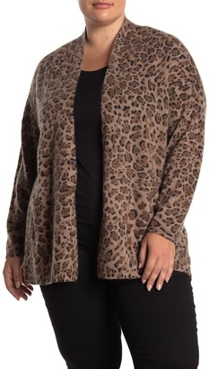 M Magaschoni Leopard Print Pocketed Cashmere Cardigan (Plus Size)