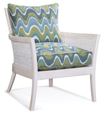 Braxton Culler Star Armchair Braxton Culler Upholstery Color: Green and Blue Chevron, Leg Color: Java - Wood