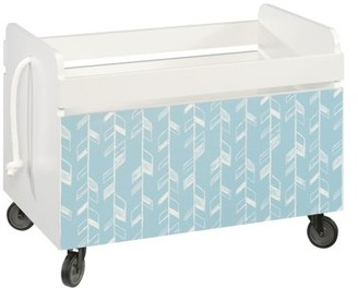 Better Homes & Gardens Cartwheel Open Top Rolling Toy Box, White Finish with Feather Pattern
