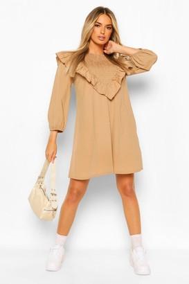 boohoo Shirred Detail Frill Shift Dress