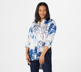 Dennis Basso Printed Woven Sheer Lace Back Duster