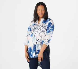 Dennis Basso Printed Woven Sheer Lace Back Top