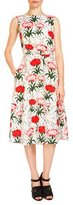 Erdem Maia Floral-Print Midi Dress, White/Red
