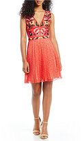 French Connection Alice Embroidered Pleated Lace Fit and Flare Dress