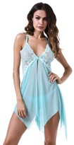 Acappella Chemise Lingerie Sexy Nightie Full Slips Lace Babydoll Sleepwear with G String Green Large