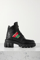 Thumbnail for your product : Gucci Romance Logo Jacquard-trimmed Leather Ankle Boots