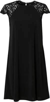 Wallis Black Lace Cap Sleeve Swing Dress