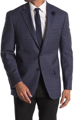 Hart Schaffner Marx Blue Windowpane Print Two Button Notch Lapel Suit Separates Blazer
