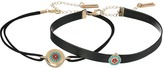 Steve Madden Two-Piece Suede/Leather Beaded Choker Set Necklace