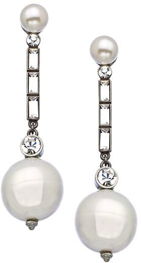 Ben-Amun Ben Amun Silver Crystal And Pearl Drop Earrings