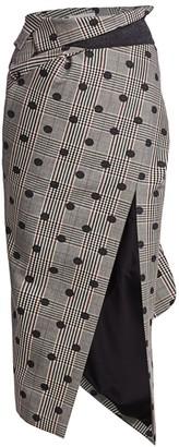 Monse Polka Dot Plaid Foldover Asymmetric Midi Skirt