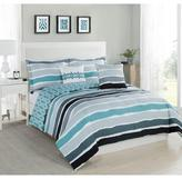 Studio 17 Tie Dye Stripe Aqua/Ivory 5-Piece King Comforter Set