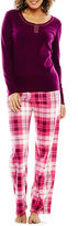 SLEEP CHIC Sleep Chic Long-Sleeve Top and Pants Knit Pajama Set - Tall
