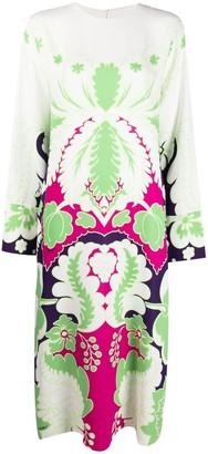 Valentino Floral Print Silk Midi Dress