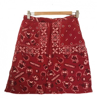 N. \n Red Cotton Skirt for Women