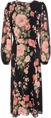 Reformation Louise Gathered Floral-print Crepe Midi Dress